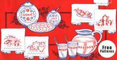 dishware vintage embroidery pattern #free #embroidery #diy #crafts