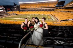 Heinz Field Wedding. Heinz Field. Pittsburgh. Pittsburgh, PA. Steeler Nation. Bride. Bridesmaids. Pittsburgh Wedding. Black and gold.    www.skysightphotography.com