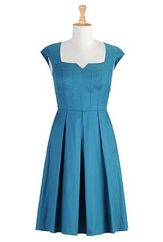 Oh my gosh..Color! Pleats! A-line! Cap sleeves! This is perfect in every way!