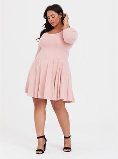 b1390c2b5568 Plus Size Pink Hacci Skater Dress, PINK Plus Size Work, Pink Plus Size  Dresses