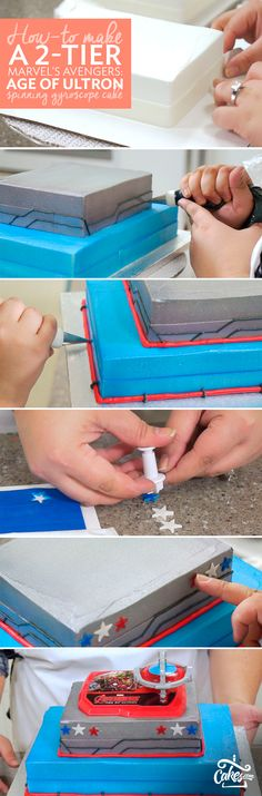 Follow the step-by-step photos to make Marvel's Avengers cake for a superhero birthday party