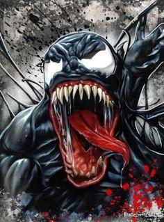 (Venom) By: Ellison Keomaka Marvel Comic Books, Comic Book Characters, Marvel Dc Comics, Marvel Characters, Comic Character, Comic Books Art, Comic Art, Superhero Villains, Marvel Villains