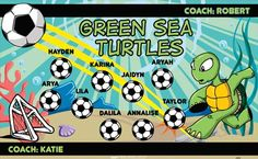 Turtle-Green-Sea-41972 digitally printed vinyl soccer sports team banner. Made in the USA and shipped fast by BannersUSA. www.bannersusa.com