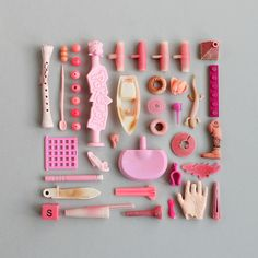 Collected Treasures Object Photography, Flat Lay Photography, Plastic Art, Plastic Beach, Rosa Pink, Collections Photography, Collections Of Objects, Gris Rose, Candy Colors