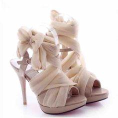 Silk Lace Up High Heels // Follow us on Instagram @thebohemianwedding #bohowedding #wedding #shoes