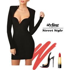 Sexy Girl  It may remind you of the addicted to love video but you just can't go wrong in this classic sexy look #LBD #blackdress #sexydress #partydress #Christmas #regram #LIPSTICK