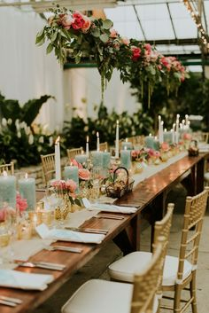 Head table at Gold, Pink and Teal Greenhouse wedding at Philadelphia Horticulture Center via M2 Photography