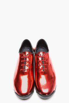 KENZO Red Metallic Leather Sneakers...it would totally suck if these were not comfortable