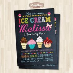 Ice Cream Birthday Party Invitation. End of by AngelinaWorks, $15.90