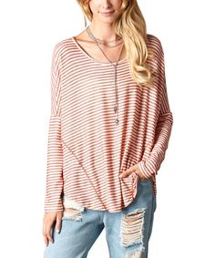 Another great find on #zulily! Red & White Stripe Drop-Shoulder Hi-Low Top #zulilyfinds