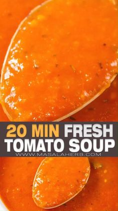 20 min Tomato Basil Soup Recipe - quick and eslowasy one pot tomato soup prepared from scratch with fresh tomatoes within 20 minutes. This soup is also vegan, dairy free, low sodium, low calorie and gluten-free. www.MasalaHerb.com