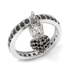 King Baby Jewelry .91ct CZ Crowned Heart Charm Ring