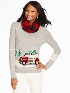 Talbots - Holiday Tree & Car Sweater   Sweaters  