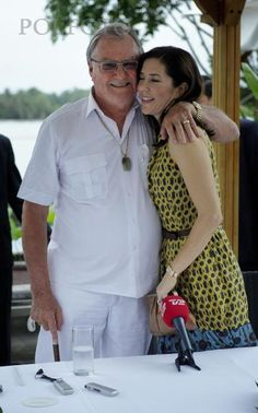 Crown Princess Mary of Denmark with her father in law Prince Henrik of Denmark, Count of Monpezat.