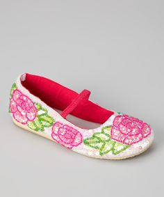 Love this Fairy Dreams White Sequin Rose Flat by Fairy Dreams on #zulily! #zulilyfinds