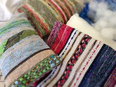 Rag rug cushion covers, with pillow inserts made to fit inside. Karen Isenhower