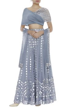 Buy Crop Top With Embroidered Palazzos & Dupatta by Reeti Arneja at Aza Fashions Party Wear Indian Dresses, Designer Party Wear Dresses, Indian Gowns Dresses, Indian Bridal Outfits, Indian Fashion Dresses, Dress Indian Style, Indian Designer Outfits, Fashion Outfits, Wedding Dresses