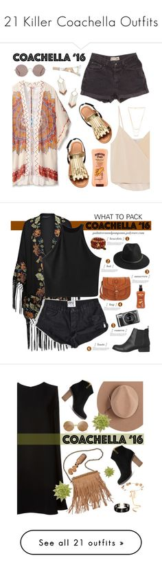 """21 Killer Coachella Outfits"" by polyvore-editorial ❤ liked on Polyvore featuring coachella, waystowear, Theodora & Callum, Levi's, Chelsea Flower, Gorjana, Panacea, Sunday Somewhere, Hawaiian Tropic and packforcoachella"