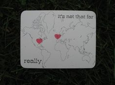 This is all kinds of cute.... world or US cards with the hearts where you want them.  Awww!