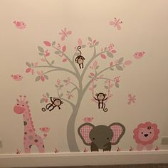 Jungle Decal, Boys Safari Wall Stickers, Yellow Blue and Grey nursery decor. Cheeky monkey, a giraffe, a baby elephant a brown tree mural. Jungle Wall Stickers, Girls Wall Stickers, Grey Feature Wall, Pink And Gray Nursery, Nursery Wall Stickers, Wall Decal, Baby Room Decor, Girl Room, Baby Girls