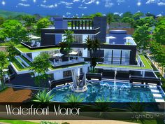 The name of this mansion is Waterfront Manor. Found in TSR Category 'Sims 4 Residential Lots'