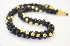Black and Gold Beautiful Crocheted Turkish Rope by OxyFineCrafts