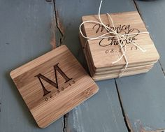4 Custom Engraved Bamboo Coasters, Personalized Coasters, Custom Coasters: Wedding Shower, Housewarming Gift, New Couple