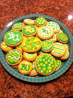 Baylor cookies for the fiesta bowl!! Sic'em bears!!