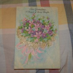 Vintage Mother's Day Card, Hallmark 25MD 668-4, GRANDMA, Glitter Violets Bouquet | eBay