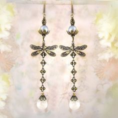Dance of the Dragonfly (Symmetrical Version) - Garden Party - Forest Wedding - Gemstone Earrings. $59.00, via Etsy.