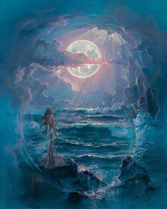 Анимация Обнаженная девушка в легкой вуали стоит на камне и смотрит на бушующее море, над которым светит полная Луна