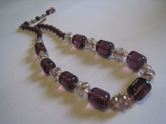 Vintage Made in w Germany Strand Necklace w Pink Purple Amethyst Glass Beads | eBay