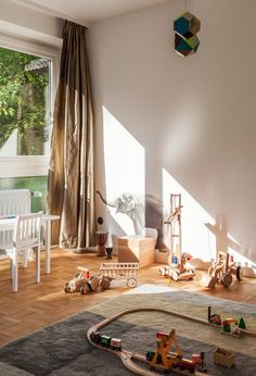 A Colour Carpet by Scholten & Baijings for HAY defines the play area in Morten's bedroom.