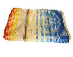 Dri Glo Blue Orange Yellow Beach Towel - Vintage Retro Mod Geometric Bath Towel - Made in Australia - Brand New! by FunkyKoala on Etsy Yellow And Brown, Orange Yellow, Bold Colors, Colours, Beach Towel, Towels, Retro Vintage, Australia, Brand New