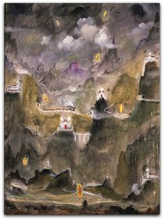Noite de São João, Alberto da Veiga Guignard (1961) Coleção do Museu de Arte da Pampulha - Belo Horizonte, MG http://sergiozeiger.tumblr.com/post/112134669123/alberto-da-veiga-guignard-nova-friburgo-25-de Nessa pintura vemos ao fundo a mesma intenção de apresentar um espaço amplo mediante uma paisagem montanhosa e nuvens que ocupam um pouco mais da metade do quadro.