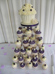 More purple/ivory cupcakes