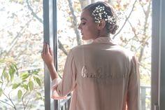 Cara Short Bridal Robe in Blush Pink Bridal Robes, Blush Pink, Campaign, Pockets, Tie, Phone, Natural, Fall, Model