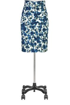eShakti Blue rose print cotton skirt