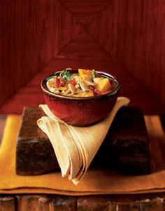 Our pumpkin and chicken chowder is chock-full of corn, red and jalapeno peppers, leeks, and, of course, pumpkin. #souprecipes