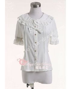 Round Collar Knots White Cotton Lolita Blouse  #lolita  #blouse