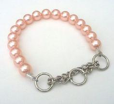 Jumbo Chunky Soft Pink Pearl Dog CollarCat collar by BeadieBabiez