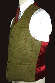 Carron Tweed Standard 5 button Waistcoat with Satin Back