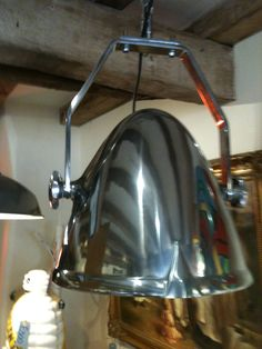Polished aluminium 1950's Tannoy speaker converted to a beautiful suspended light - we have three of these in our shop......