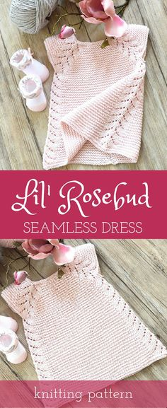 I'm thinking of knitting this as top for myself. Lil' Rosebud seamless top down dress / tunic top knitting pattern #knitting #pattern #ad #dress #pink #etsy #rose