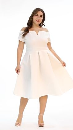 Lalagen Women's Vintage Party Cocktail Wedding Swing M.- Lalagen Women's Vintage Party Cocktail Wedding Swing Midi Dress - Curvy Outfits, Dress Outfits, Fashion Dresses, Plus Size Dresses, Plus Size Outfits, Godmother Dress, Curvy Fashion, Women's Fashion, Look Street Style