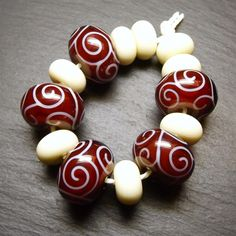 Lampwork glass 'Morello' beads by Laura Sparling