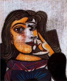 """Portrait of Dora Maar"".Artist: Pablo Picasso Completion Date: 1937 Style: Surrealism Period: Neoclassicist & Surrealist Period Genre: portrait. Pablo Picasso, Dora Maar Picasso, Kunst Picasso, Art Picasso, Picasso Paintings, Henri Matisse, Atelier D Art, Cubism Art, Georges Braque"