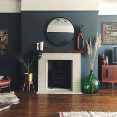 This beautiful fireplace sits perfectly against contemporary Down Pipe coloured walls – fantastic room avesome New Living Room, Blue Rooms, Victorian Living Room, Living Room Color, Blue Living Room, Living Room Diy, Home Decor, Living Room Paint, Home Living Room