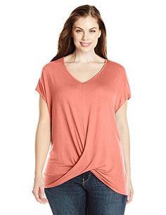 Paper  Tee Womens PlusSize VNeck Short Sleeve Drape Neck Top Coral 2X * Continue to the product at the image link.(It is Amazon affiliate link) #instagood