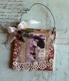 Joys Vintage Collage Christmas Canvas by myvintagewhimsies on Etsy,